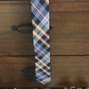 Blue plaid necktie